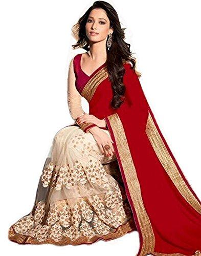 Saree By Saree Mandir Women's Lycra Net Saree (Red_Tamana_Red_Free Size)
