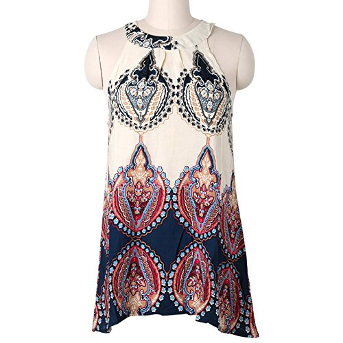 JAGETRADE Damen-Kleid, Boho Sexy Damen Ärmellos Party Abend Cocktail Sommer Beach Kleid kurz Mini, XL -