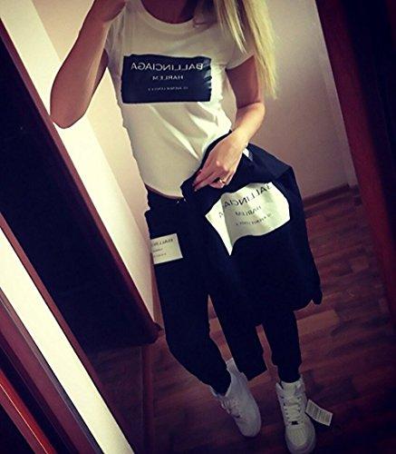 Femme Imprimé Sportwear Sweatpants Pulls + Pantalon Jogging Survêtement 2pcs Ensembles Sweat-Shirt Noir