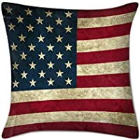 Lmunxuy 18 Inch American Flag Grunge United States USA Cotton & Polyester Pillow Cover Soft Square Throw Pillowcase (Twin Side)