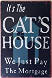 RETRO METAL WALL SIGN TIN PLAQUE VINTAGE SHABBY CHIC FUNNY HOME CAT KITTEN HOUSE