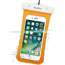 DolDer Premium Wasserdichte Handyhülle Tasche mit Side Window für Apple iPhone 7/6S/SE/5S, Samsung Galaxy S7/S6/S5/A3/J3, Sony Xperia XA/XA1/X Compact/Z5 Compact/Z3 Compact, HUAWEI P8 LITE/Honor 6/Y3II/Y5II/Y6II,Microsoft Lumia 650/Lumia 550 Moto G4 Play etc., in orange(4.3 - 5.1 zoll)