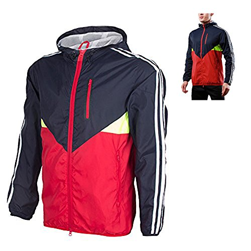 UrChoiceLtd® Hot LIEXING Men Clothes Windbreaker Waterproof Warm / Windproof Outdoor Sports Hiking Climbing Skiing Cycling Jacket Coat with M-3XL (Red Gray, M)