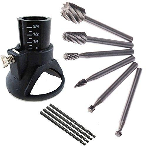 ZFE 6-teiliger HSS-Fraser + HSS-Bohrer Metall + Mehrzweck-Frasvorsatz Fur Dremel, Proxxon, Multifunktionswerkzeuge