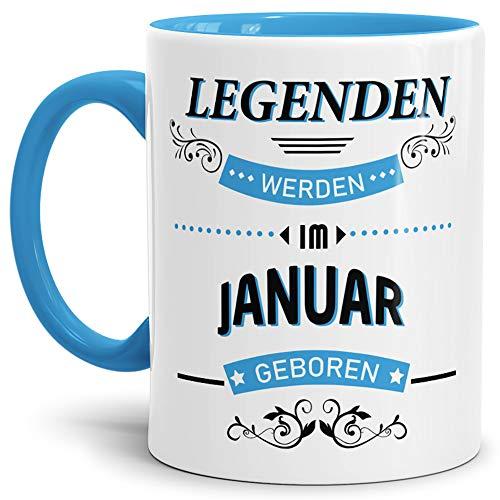 Geburtstags-Tasse 'Legenden werden im Januar geboren' Innen & Henkel Hellblau - Kaffee-Tasse / Mug /...