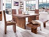 massivum Country Esstisch mit 4 Stühlen und Sitzbank, Holz, braun, 100 x 200 x 78 cm