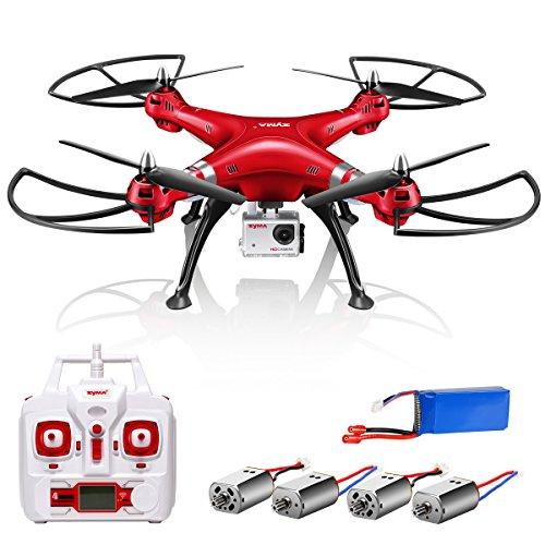 Preisvergleich Produktbild Syma X8HG RC Quadrocopter Drohne mit 8 MP HD Kamera Headless höhe halten Deutsche Bedienungsanleitung Ersatz Motor Rot (Besser als Syma X8G)