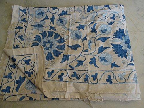 Tribal Asian biancheria da letto ricamata floreale, uzbeka Suzani-Trapunta copriletto Vintage in tessuto etnico Turchia Middle East-Coperta da parete per interni, da appendere, stile ricamo