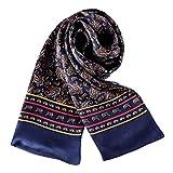 UK_Stone Halstuch Herren 100% Seide Schal Vintage Pattern Seidenschal Herrenschal, Paisley # 4 Marineblau