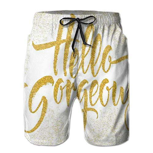 ZTLKFL Men Swim Trunks Beach Shorts,Calligraphy Quote Artistic Brushettering On Graphic Sprayed Color XL -