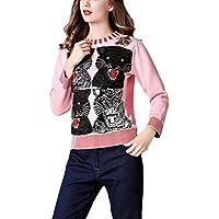 Mena Suéter Largo Casual / Diario De Mujer, Bordado Decorado Suéter Tops De Tigre ( Color : Pink , Tamaño : S )