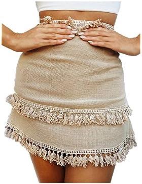 Nimpansa Mujeres Boho Solid Wassles Borlas Patchwork Una Linea De Mini Faldas Pareo