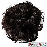 PRETTYSHOP Haarteil Haargummi Hochsteckfrisuren unordentlicher Dutt leicht gewell. Farbe: dunkelbraun G3B