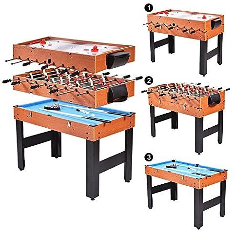 Table Multi Jeux 5 En 1 - Tablede baby-foot Multi Jeux billard/Air/Hockey 3 en