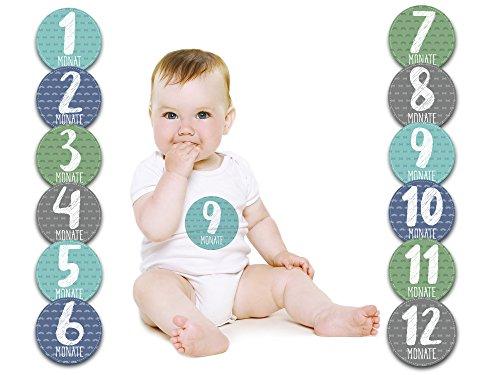 Baby Monatsaufkleber für das 1. Lebensjahr (Deutsch) - Little Mister