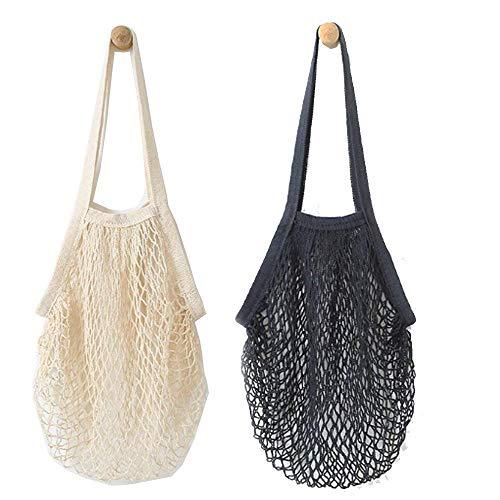 Shinely 2 Stueck Netzschnur-Einkaufstasche Langer Griff wiederverwendbar Einkaufstasche Net String Bag Organizer für Einkaufen, Strand, Spielzeug, Aufbewahrung, Obst, Gemüse und Markt (beige Black)