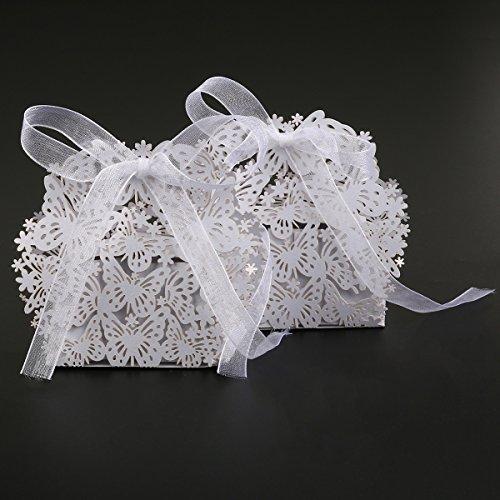 ULTNICE 50 Stück Geschenkboxen,Hohlen Schmetterling Dekor Süßigkeitskästen für Hochzeit /Meeting/Party,Weiß (Hochzeits Geschenke Für Die Gäste)