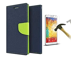 Sony Xperia M4 Mercury Flip Wallet Diary Card Case Cover (Blue/Green + TEMPERED + STYLUS) By Mobile Life