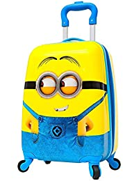 Children High Quality Minion Pattern Hard Side Water Proof Polycarbonate 360 A^ Rotating Exclusive Printed Pattern Fashionable Smart School Bag For Kids Comfortable And Ergonomic Handle Carry Luggage Bag For Children 4 Single Spinner Wheel trolley Bag For Boy Girls For Travel Tourist Cabin Luggage's Bag