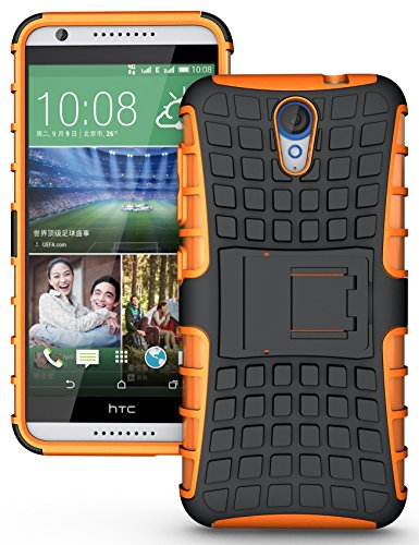 Heartly Flip Kick Stand Spider Hard Dual Rugged Armor Hybrid Bumper Back Case Cover For HTC Desire 620 620G 820 Mini Dual Sim - Mobile Orange