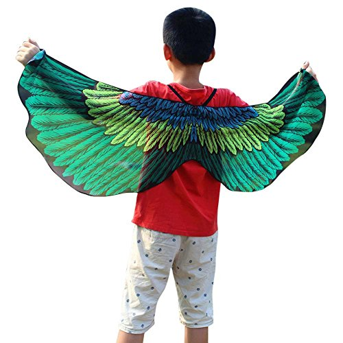 Faschingskostüme Schmetterling Schal Mädchen Karneval Kostüm Schmetterlingsflügel feenhafte Nymphe Pixie Halloween Cosplay Kinder Schmetterlingsf Cosplay Butterfly Wings Flügel LMMVP (Grün 1)