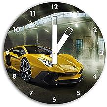 Lamborghini foto en blanco reloj de pared con blunt las manos y la cara, de 30 cm de diámetro, decoración perfecta para su hogar, idea regalo estupendo para jóvenes y mayores