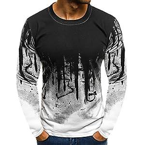 ALIKEEY Men  S Slim Gradiente Camiseta De Manga Larga De Manga Larga  Hombres Gradiente Beefy Músculo Sólido Básico Blusa T - Shirt Top - Figuras  y Comics al ... 7ffef27c063f