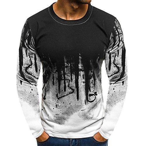 Xmiral Tops Sweatshirt Herren Slim Fit Short Sleeve/Langarm-Muskel-beiläufige Hemden(L,Lange Ärmel-Weiß)