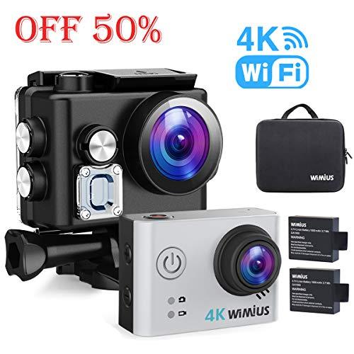 WiMiUS 4K Action Cam WiFi Videocamera Subacquea con Vista grandangolare 170 ° Due Kit di batterie e Accessori
