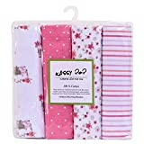 Best Baby Shower Gifts For Girls - Square 100% Cotton Flannel Receiving Baby Blankets, Premium Review