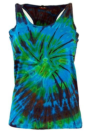 Tie-dye-türkis (Guru-Shop Batik-Tanktop, Tie Dye Goa Top, Damen, Türkis, Baumwolle, Size:L (38), Tops, T-Shirts, Shirts Alternative Bekleidung)