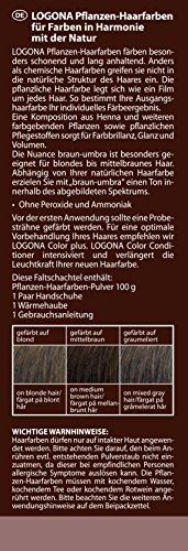 LOGONA Naturkosmetik Coloration Pflanzenhaarfarbe, Pulver - 090 Braun-Umbra - Braun, Natürliche & pflegende Haarfärbung (100g) - 2