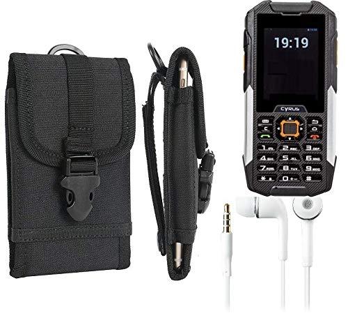 K-S-Trade Schutzhülle für Cyrus cm 16 Gürteltasche Handyhülle Schutz Hülle Gürtel Tasche Handy Tasche Outdoor Seitentasche schwarz 1x + Kopfhörer