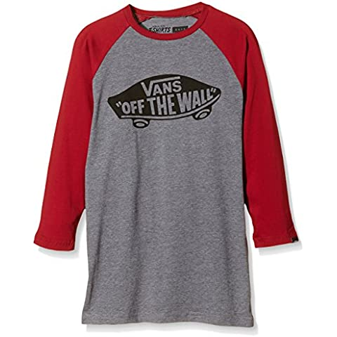 Vans - OTW RAGLAN BOYS, T-shirt Bambino, grigio (heather Grey/cardinal), Large ( Large)