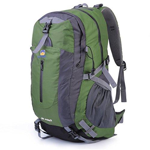 ICOCO 40L Travel Rucksack Wandern Bergsteigen Ruck Sack Wasser Resistang Gepäcktasche für Outdoor Reisen Klettern Camping mit Regen Abdeckung (Kleine Outdoor-anhänger)