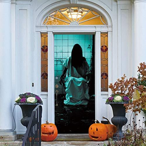 Wallpaper FANGQIAO SHOP Tür Aufkleber Halloween 3D Weibliche Tapeten Geist In Ruinen Aufkleber Home Tür Dekoration Wandbild Kunstdekor