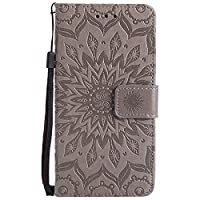 BoxTii LG G6 Case [with Free Tempered Glass Screen Protector], Leather Wallet Case with Lanyard Strap and Card Holder for LG G6, Shockproof Design Protective Cover and Flip Case for LG G6 (#2 Grey)