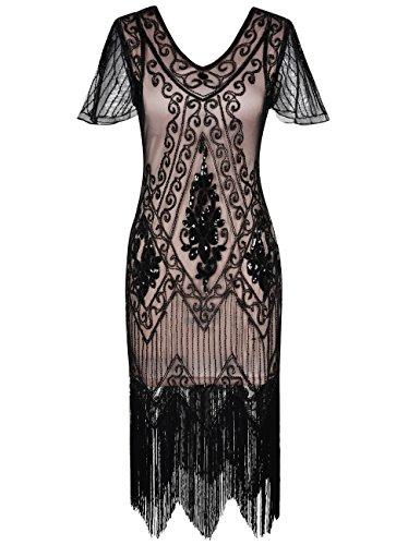 Kayamiya Damen 1920er Jahre Vintage Gatsby Kleid Ärmel inspiriert Perlen Pailletten Cocktail Flapper Kleid XL Schwarz Beige (Schwarz Pailletten Cocktail)