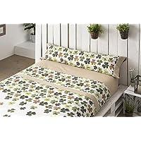 Lois trebol juego de sábanas 3 piezas, 50% algodo 50% poliester, gris cama 135x190/200
