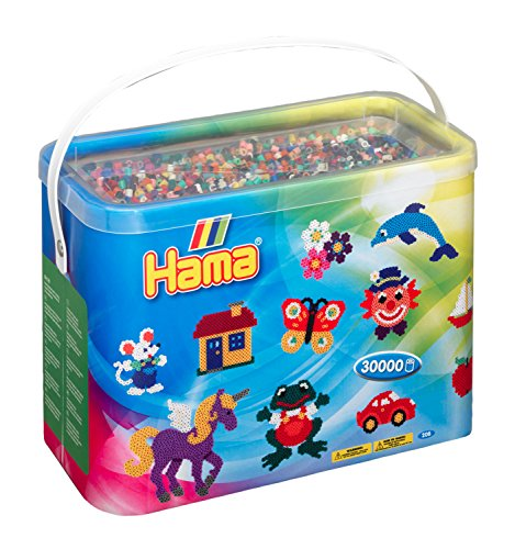 Hama 208-67 - Eimer mit Bügelperlen, ca. 30000 Perlen, Grundfarben gemischt, bunt
