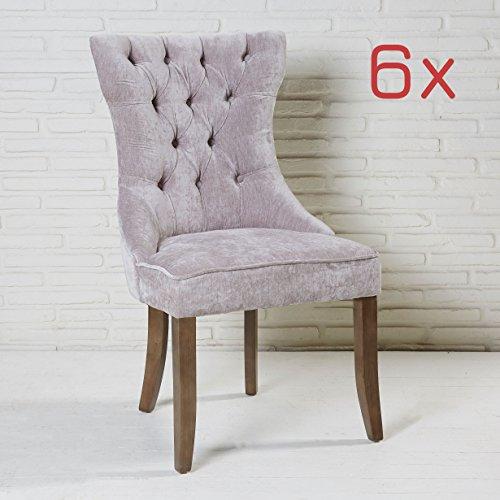 Wholesaler GmbH 6er Set Esszimmerstuhl grau mit Samtbezug und Holzbeinen Knöpfe Polsterstuhl