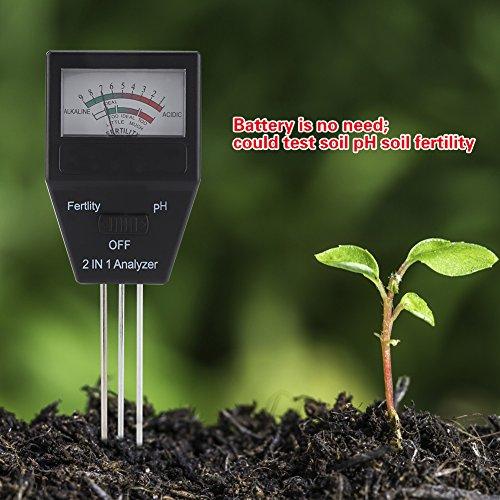 Boden Meter, 2in 1Erde Dünger Analysegerät PH Wert Säure Alkalinität Tester Kit mit 3Prüfspitzen für Pflanzen Crops Blumen Gemüse Farm