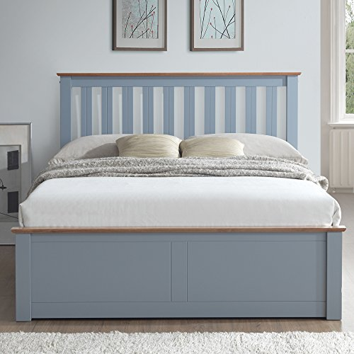 Grey Ottoman Storage Bed, Happy Beds Phoenix Stone Grey Wood Modern Bed - 4ft6 Double (135 x 190 cm) Frame Only
