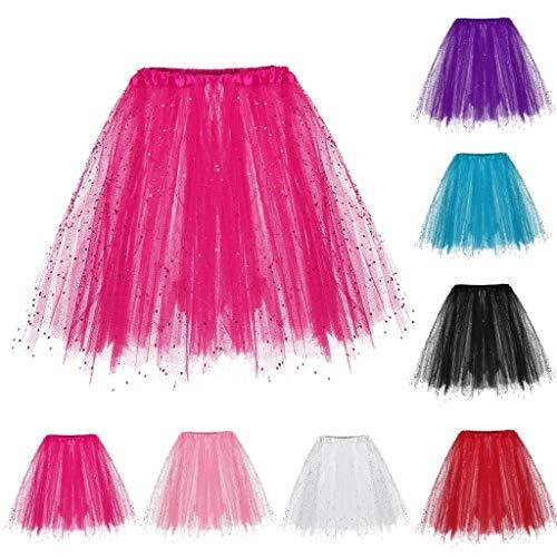 Tüllröcke Petticoat Kurze Damenrock Tutu Rock Ballet Unterkleid Unterrock Damen Knielange Asymmetrischer Gummibund Ausgestellter Zipfel Tüll Rock