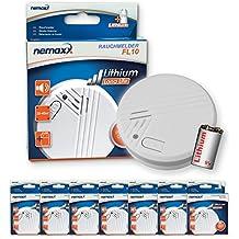 Nemaxx FL10 - Lote de 7 pilas de litio para detector de humo  (certificado EN 14604)
