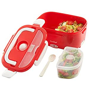 VonShef Electric Heated Portable Food Warmer Lunch Bento Box, Red Compact 40W 1.5L
