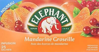 Elephant Infusion Mandarine Groseille 25 Sachets 45g - Lot de 6