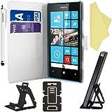 BAAS® Blanc Etui Housse Coque en Cuir Portefeuille pour Nokia Lumia 520 + 3 x Film de Protection d'Ecran + Stylet Pour Ecran Tactile
