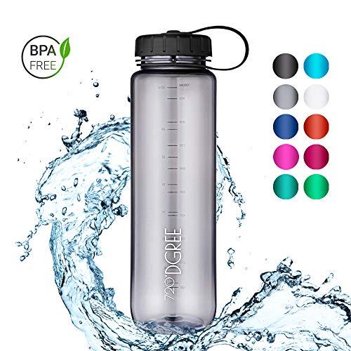 720°DGREE Trinkflasche simplBottle - 1000ml, 1L, Grau | Wasserflasche aus Tritan | Auslaufsichere, Robuste Flasche mit Weithals für Sport, Schule, Gym, Outdoor | Perfekte Sportflasche - BPA Frei