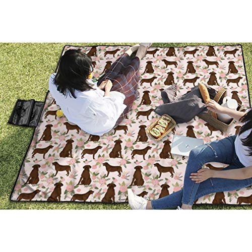 BigHappyShop Picnic Blanket Micro Labrador Retriever Chocolate Lab Pet Quilt Floral Coordinates Dog Waterproof Extra Large Outdoor Mat Camping Or Travel Easy Carry Compact 59